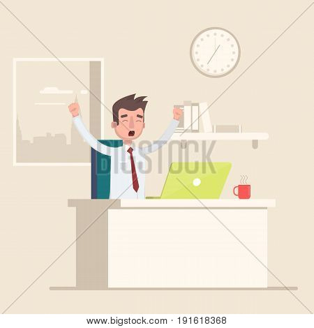 A man sits in the workplace in the office and yawns. Vector illustration in a flat style