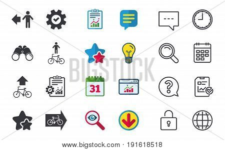 Pedestrian road icon. Bicycle path trail sign. Cycle path. Arrow symbol. Chat, Report and Calendar signs. Stars, Statistics and Download icons. Question, Clock and Globe. Vector