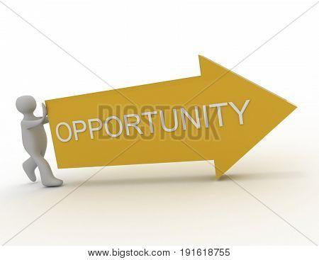 opportunity concept . man push arrow  . 3d rendered illustration