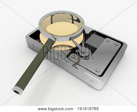 Hard Disk and magnifying glass . 3d rendered illustration