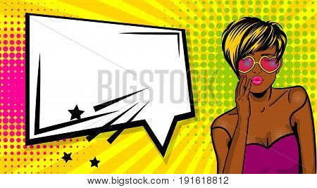 Cartoon vintage poster, colored black african american cool girl heart sunglasses. Speech bubble comic text vector font illustration. Sale banner. Kiss sexy lips lipstick. Pop art style WOW face.