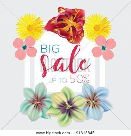 Big sale template with flowers background frame vector illustration. Banner, flyer, invitation, posters, brochure, voucher discount Advertising