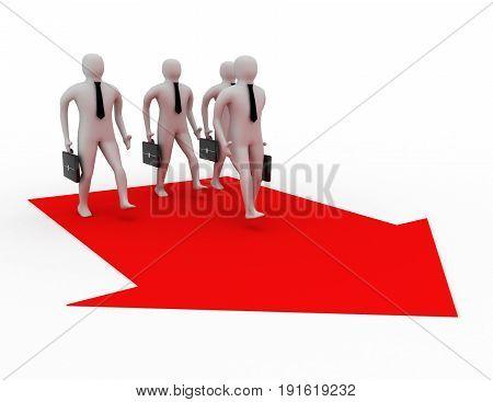 3d businassman walking. team concept . 3d rendered illustration