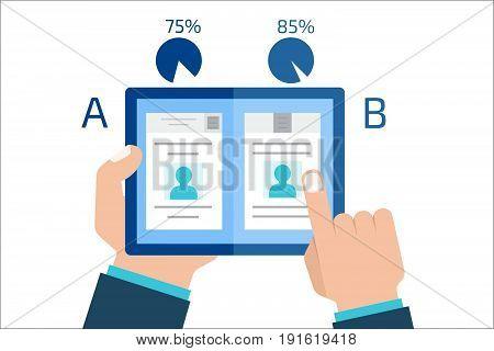 A-B comparison. Split testing. Concept computer vector illustration