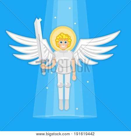 Archangel with sword, angel, saint. Vector illustration
