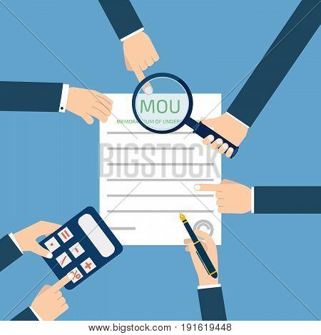 memorandum of understanding MOU, magnifier, calculator. Vector illustration