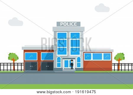 police station icon, building, policeman. Vector illustration