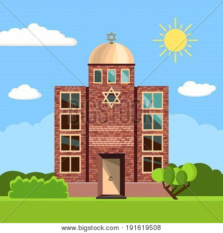 Jewish synagogue icon. Vector illustration for religion design. Building temple architecture. Judaism religious church. David star. Famous landmark. Summer spring day picture with tree, sun, sky