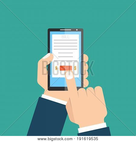 Online invoice. Mobile phone in hands. Vector illustration