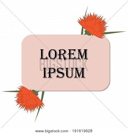 Vector banner or frame with rounded corners decorated with red carnations. Unobtrusive decoration of illustrations and inscriptions of spring or summer themes