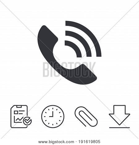 Phone sign icon. Support symbol. Call center. Report, Time and Download line signs. Paper Clip linear icon. Vector