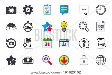 Photo camera icon. Flip turn or refresh symbols. Stopwatch timer 10 seconds sign. Chat, Report and Calendar signs. Stars, Statistics and Download icons. Question, Clock and Globe. Vector