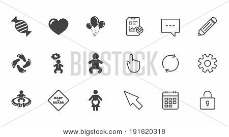 Pregnancy, maternity and baby care icons. Candy, strollers and fasten seat belt signs. Footprint, love and balloon symbols. Chat, Report and Calendar line signs. Service, Pencil and Locker icons