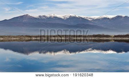 Amazing Panorama to  lake, Pirin Mountain background, Bulgaria