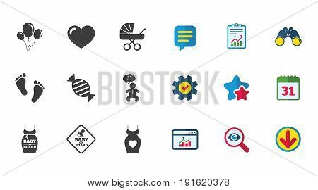 Pregnancy, maternity and baby care icons. Newborn, strollers and pacifier signs. Footprint, candy and love symbols. Calendar, Report and Download signs. Stars, Service and Search icons. Vector
