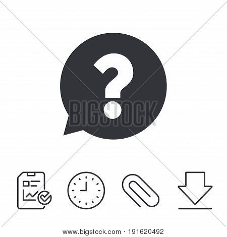 Question mark sign icon. Help speech bubble symbol. FAQ sign. Report, Time and Download line signs. Paper Clip linear icon. Vector