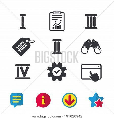 Roman numeral icons. 1, 2, 3 and 4 digit characters. Ancient Rome numeric system. Browser window, Report and Service signs. Binoculars, Information and Download icons. Stars and Chat. Vector