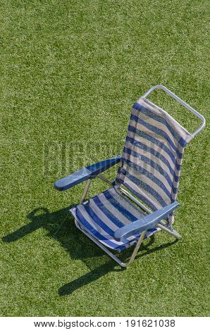 Sun Lounger In Blue And White