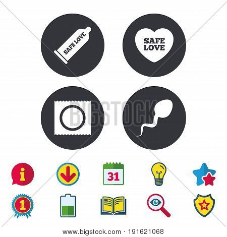 Safe sex love icons. Condom and package symbol. Sperm sign. Fertilization or insemination. Calendar, Information and Download signs. Stars, Award and Book icons. Light bulb, Shield and Search. Vector