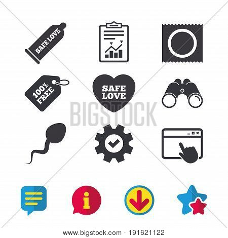 Safe sex love icons. Condom and package symbol. Sperm sign. Fertilization or insemination. Browser window, Report and Service signs. Binoculars, Information and Download icons. Stars and Chat. Vector