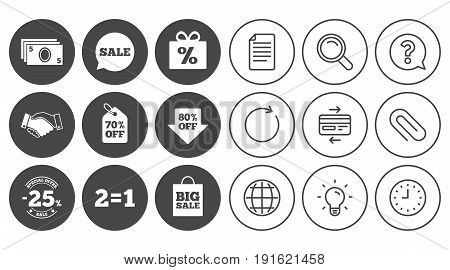 Sale discounts icon. Shopping, handshake and cash money signs. 25, 70 and 80 percent off. Special offer symbols. Document, Globe and Clock line signs. Lamp, Magnifier and Paper clip icons. Vector
