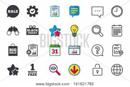 Sale speech bubble icon. Black friday gift box symbol. Big sale shopping bag. First month free sign. Chat, Report and Calendar signs. Stars, Statistics and Download icons. Question, Clock and Globe