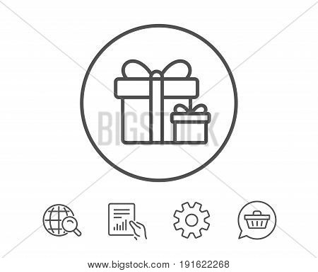 Gift boxes line icon. Present or Sale sign. Birthday Shopping symbol. Package in Gift Wrap. Hold Report, Service and Global search line signs. Shopping cart icon. Editable stroke. Vector