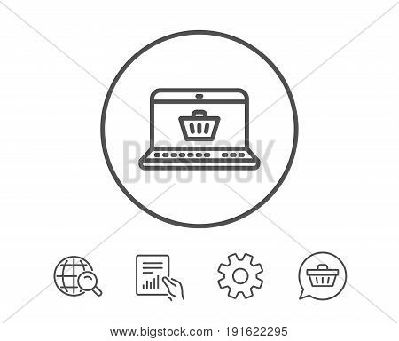 Online Shopping cart line icon. Laptop sign. Supermarket basket symbol. Hold Report, Service and Global search line signs. Shopping cart icon. Editable stroke. Vector