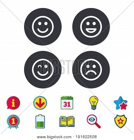 Smile icons. Happy, sad and wink faces symbol. Laughing lol smiley signs. Calendar, Information and Download signs. Stars, Award and Book icons. Light bulb, Shield and Search. Vector