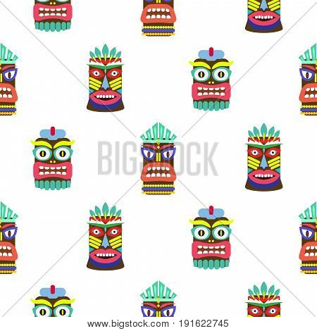 Hawaiian tiki mask seamless bright on white pattern vector. Totem symbols colorful tileable background.