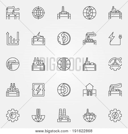 Geothermal energy icons set - vector geothermal power concept signs or design elements in thin line style