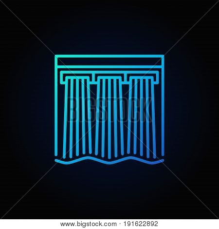 Hydroelectricity vector blue icon - hydroelectric dam colorful linear sign on dark background
