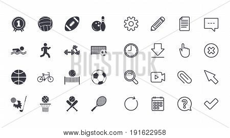 Set of Sport and Fitness icons. Football, tennis and volleyball signs. Swimming pool, Biking and Bowling symbols. Award, Golf and Baseball. Calendar, Document and Download line signs. Vector