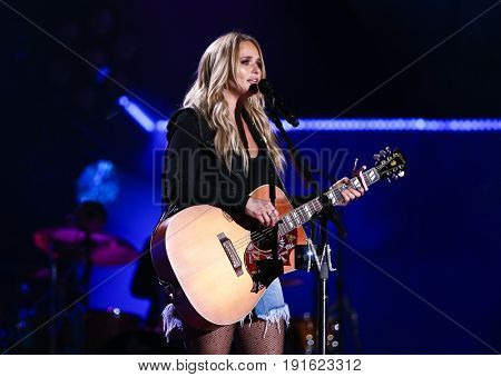 NASHVILLE, TN - JUNE 08: Miranda Lambert performs at Nissan Stadium during the 2017 CMA Festival on June 8, 2017 in Nashville, Tennessee.