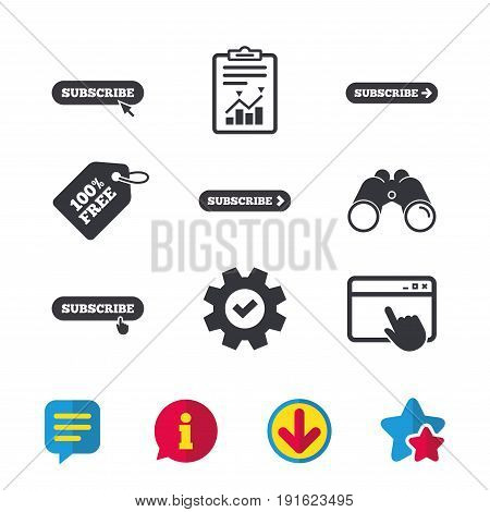 Subscribe icons. Membership signs with arrow or hand pointer symbols. Website navigation. Browser window, Report and Service signs. Binoculars, Information and Download icons. Stars and Chat. Vector