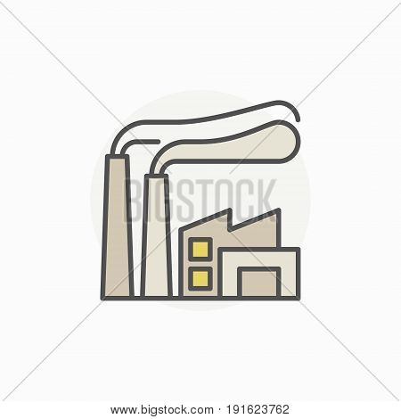 Factory colorful icon - vector industrial building concept sign or logo element