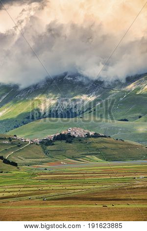 Piano Grande di Castelluccio di Norcia (Perugia Umbria Italy) famous plateau in the natural park of Monti Sibillini