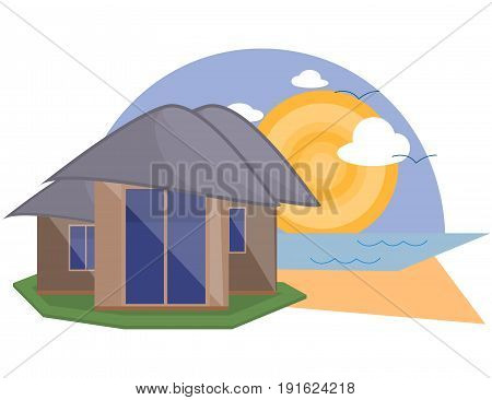 Sea Side Summer Landscape With House Shiny sun and Clouds in Flat Design.