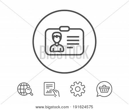 ID card line icon. User Profile sign. Male Person silhouette symbol. Identification plastic card. Hold Report, Service and Global search line signs. Shopping cart icon. Editable stroke. Vector