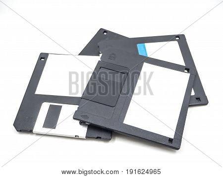 group of old storage diskette floppy disk on white background