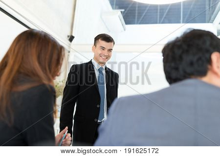 Business discussion with colleague
