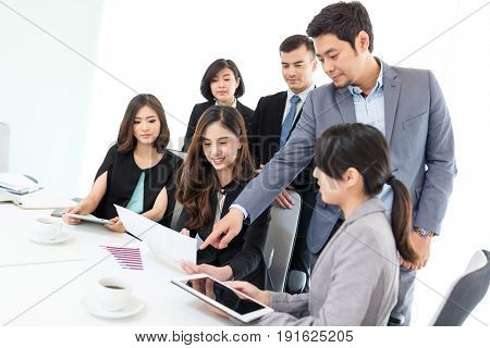 Discussion in business office