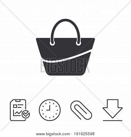 Woman bag icon. Female handbag sign. Glamour casual baggage symbol. Report, Time and Download line signs. Paper Clip linear icon. Vector