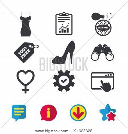 Women dress icon. Sexy shoe sign. Perfume glamour fragrance symbol. Browser window, Report and Service signs. Binoculars, Information and Download icons. Stars and Chat. Vector