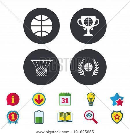 Basketball sport icons. Ball with basket and award cup signs. Laurel wreath symbol. Calendar, Information and Download signs. Stars, Award and Book icons. Light bulb, Shield and Search. Vector