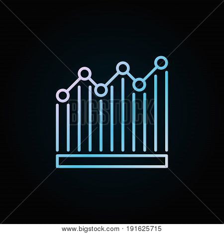 Bar graph blue icon. Vector colorful chart sign in thin line style on dark background