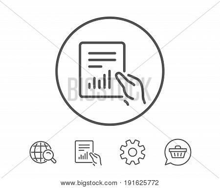 Hold Report document line icon. Analysis Chart or Sales growth sign. Statistics data symbol. Hold Report, Service and Global search line signs. Shopping cart icon. Editable stroke. Vector