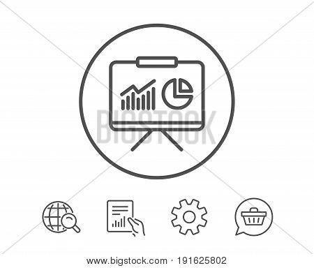 Presentation board line icon. Report chart or Sales growth sign. Analysis and Statistics data symbol. Hold Report, Service and Global search line signs. Shopping cart icon. Editable stroke. Vector