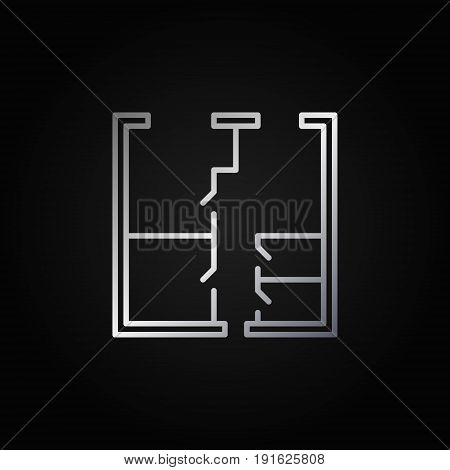 Whiteprint concept silver vector icon. House or apartment plan sign in thin line style on dark background