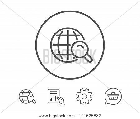 Global Search line icon. World or Globe sign. Website search engine symbol. Hold Report, Service and Global search line signs. Shopping cart icon. Editable stroke. Vector